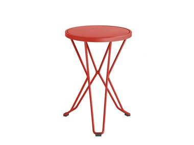 Low galvanized steel garden stool MADRID | Low stool