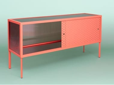 Metal and polycarbonate sideboard with sliding doors MAIA
