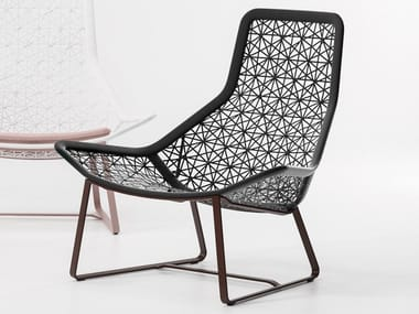 High-back synthetic fibre garden armchair MAIA | Sled base garden armchair