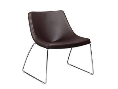 Sled base leather chair MAINE | Leather chair