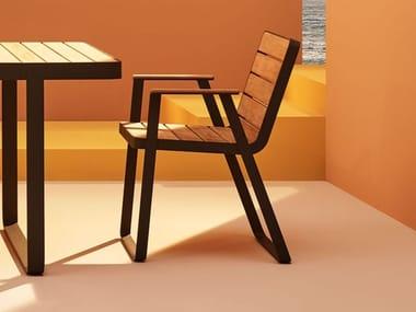 Sedia in acciaio inox e legno con braccioli MAKEMAKE | Sedia in teak