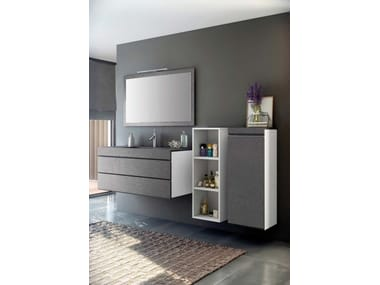 wall-mounted mdf vanity unit with drawers with mirror making ... - Fiora Arredo Bagno