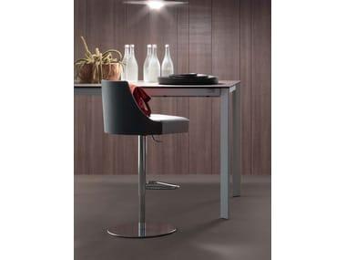 Contemporary style height-adjustable steel barstool with footrest MALIBU | Swivel stool