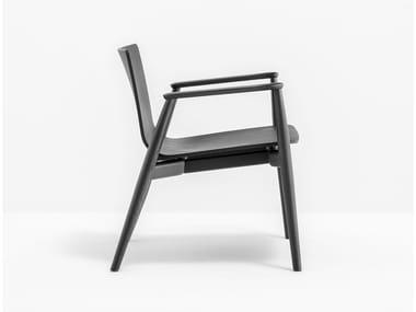 Wood veneer easy chair with armrests MALMÖ 295
