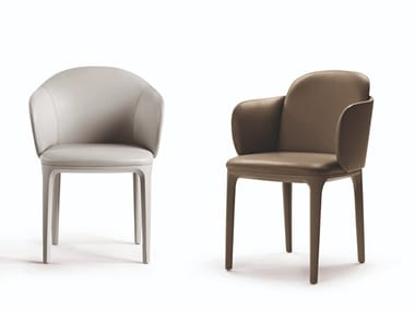 Upholstered leather chair with armrests MANDA PLUS