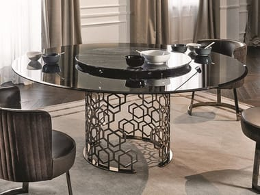Round Crystal Table With Lazy Susan MANFRED | Round Table. Longhi