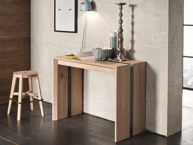 Extending rectangular solid wood console table MANHATTAN