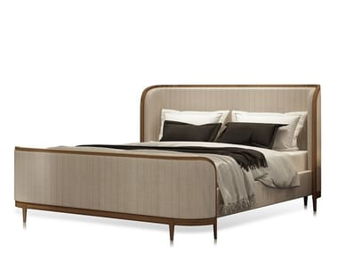 Leather double bed with upholstered headboard MANHATTAN   Bed