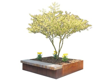 Wooden Bench with Integrated Planter MANNHEIM