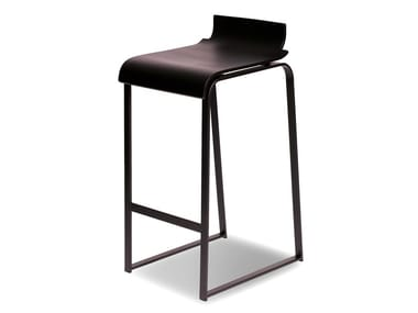 High lacquered sled base beech stool MANU 19