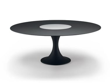 Lacquered round table with Lazy Susan MANZÙ TABLE 08C