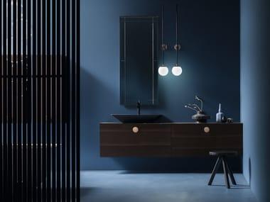 Mobile lavabo singolo sospeso con specchio MAORI | Mobile lavabo sospeso