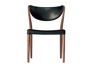 Upholstered leather chair MARCEL