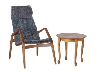 Tavolino da caffè basso rotondo in legno da salotto MARGIT   Tavolino rotondo