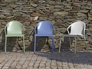 Stackable metal garden chair with armrests MARIA