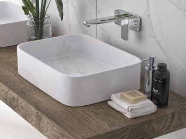 Rectangular single Silestone® washbasin MARIE