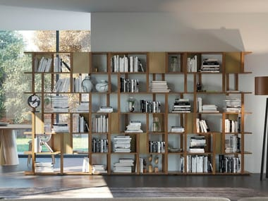 Open double-sided wooden bookcase MARILA