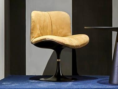 Swivel upholstered Nabuk chair MARILYN | Chair