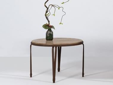 Tavolino da giardino rotondo in travertino MARINA | Tavolino