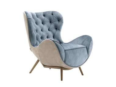 Wing tufted armchair with armrests MARION | Wing armchair