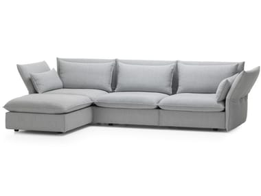3 seater fabric sofa with removable cover with chaise longue MARIPOSA CORNER