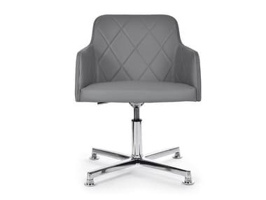 Swivel chair with 4-spoke base with armrests MARLÈNE 200 STITCHING TECNO