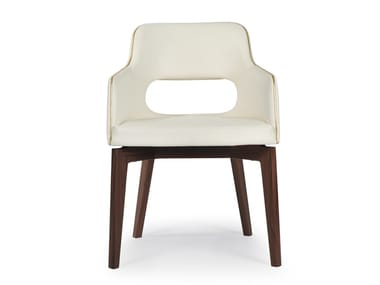 Upholstered open back chair MARLÈNE 200H WOOD