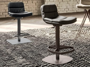 High stool in leather and metal with footrest MARLON