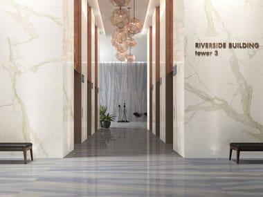 Indoor/outdoor porcelain stoneware wall/floor tiles with marble effect MARMI AZUL MACAUBAS