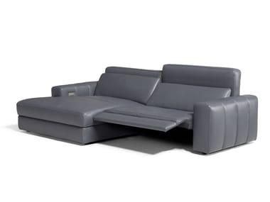 Divano modulare reclinabile in pelle con chaise longue MARNI   Divano con chaise longue
