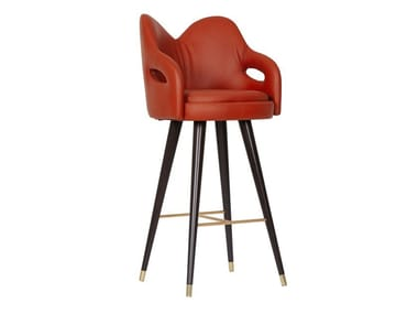 High leather stool with back MARY