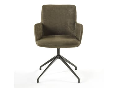 Swivel leather chair with armrests MATERIA SOFT ARM