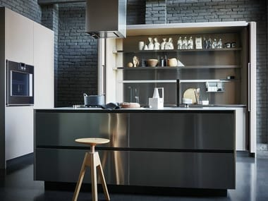 Stainless steel and Fenix fitted kitchen with island MAXIMA 2.2 - COMPOSITION 4