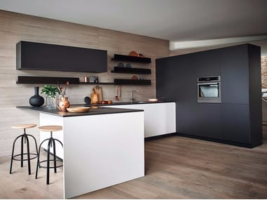 Lacquered melamine fitted kitchen with peninsula MAXIMA 2.2 - COMPOSITION 8