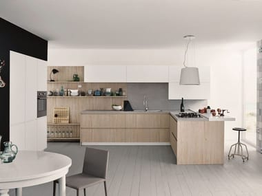 Melamine fitted kitchen with peninsula MAXIMA 2.2 - COMPOSITION 6