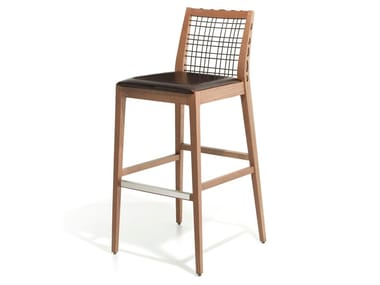 Ash stool with footrest MAXINE | Stool
