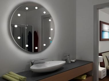 Round wall-mounted mirror with integrated lighting MDE 100