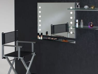 Rectangular wall-mounted Anodized aluminium mirror with integrated lighting MDE 502