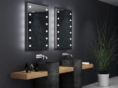 Rectangular bathroom mirror with integrated lighting MDE 505