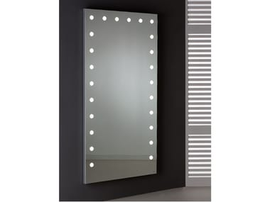 Rectangular wall-mounted Anodized aluminium mirror with integrated lighting MDE 516