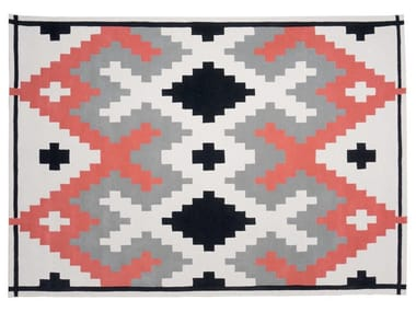 Handmade rectangular wool rug with geometric shapes MELLOW