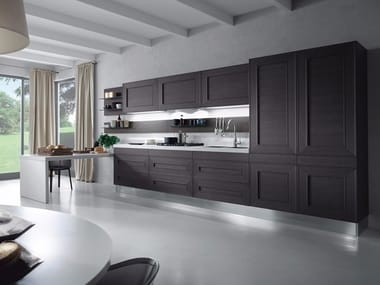 Wood veneer kitchen with peninsula without handles MELOGRANO M.UNO