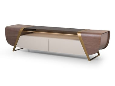 Wood and glass TV cabinet with drawers MELTING LIGHT | TV cabinet
