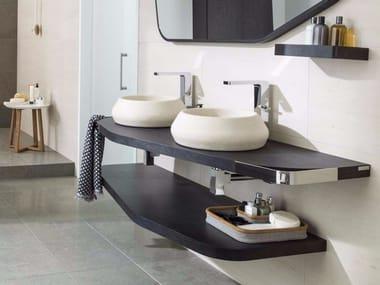 Wooden bathroom wall shelf MEN{H}IR L | Bathroom wall shelf