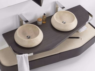 Contemporary style wooden washbasin countertop MEN{H}IR L | Washbasin countertop