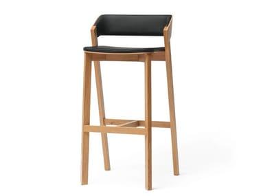 Wooden barstool with back MERANO | Barstool