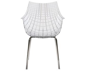 Polycarbonate chair with steel legs MERIDIANA | Polycarbonate chair