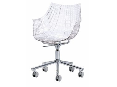 Swivel polycarbonate chair with 5-spoke base with castors MERIDIANA | Chair with castors