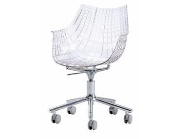 Sedia girevole in policarbonato a 5 razze con ruote MERIDIANA | Sedia con ruote