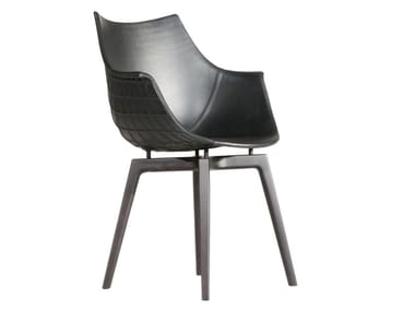 Leather chair with armrests MERIDIANA | Leather chair